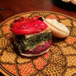 Spanakopita burger with roasted red pepper and Baba Ganoush